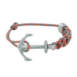 Bracelet Argent Ancre Lien Bicolore Tressé Coulissant