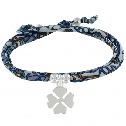 Bracelet Double Tour Lien Liberty Papillon et Trèfle Argent - Classics