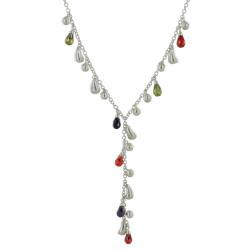 Collier Cravate Argent Multi Gouttes d'Eau et Zirconium