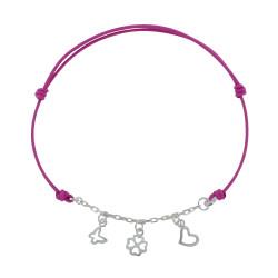 Bracelet Lien Argent Chaînette Papillon Trèfle et Coeur - Classics