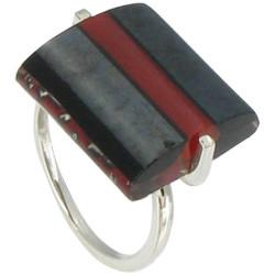 Bague Argent Rayures Verre Rectangle Noire Bicolore - Classics