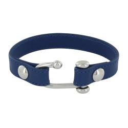 Bracelet Argent Manille Ouverte et Cuir Bleu Marine