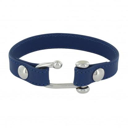 Bracelet Argent Crochet et Cuir Bleu Marine