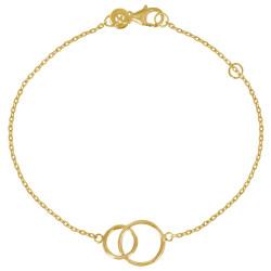 Bracelet Plaqué Or Deux Cercles