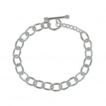 Bracelet Argent Gourmette Maillons Ovales