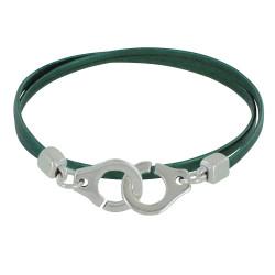 Bracelet Plaqué Argent Menottes et Cuir Double Tour Fin - Classics