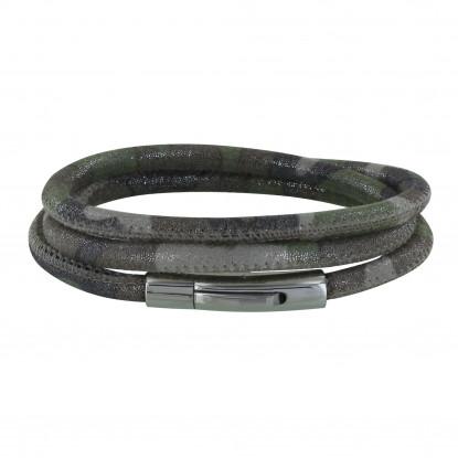 Bracelet Mixte Cuir Fin Camouflage Femoir Acier Inoxydable
