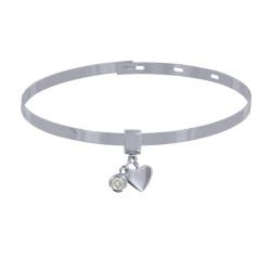 Bracelet Argent Rhodié Jonc Plat Fermeture Crochet Breloques Coeur et Strass