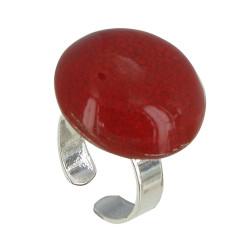 Bague Métal Argenté Champignon Céramique Rouge