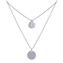 Collier Double Chaine Argent Rhodié Médailles Rondes Lisses et Martelées