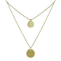 Collier Double Chaine Plaqué Or Médailles Rondes Lisses et Martelées