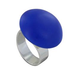 Bague Métal Argenté Champignon Céramique Bleu Mat