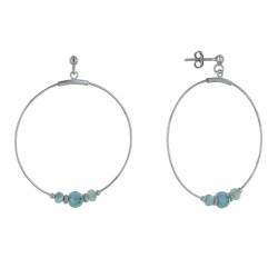 Boucles d'Oreilles Argent Créoles et Trois Perles de Larimar