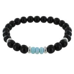 Bracelet Homme Perles d'Ebènes et Trois Anneaux de Larimar