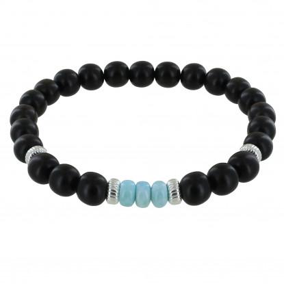 Bracelet Homme Elastique Perles d'Ebènes et Trois Anneaux de Larimar