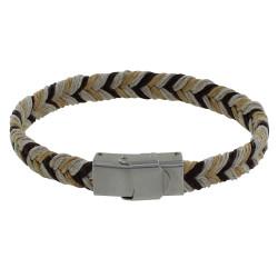 Bracelet Homme Lin Tricolore Tressé Plat Fermoir Acier Inoxydable