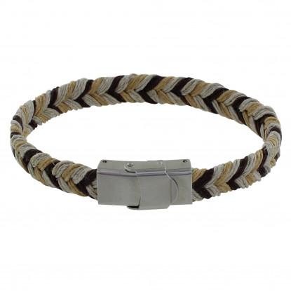 Bracelet Homme Lin Tricolore Tréssé Plat Fermoir Acier Inoxydable