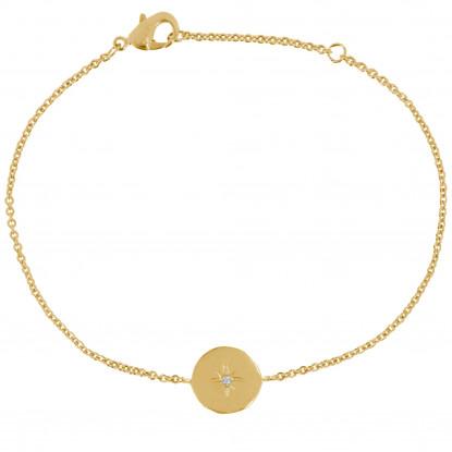 Bracelet Plaqué Or Médaille Ronde Etoile Polaire et Strass