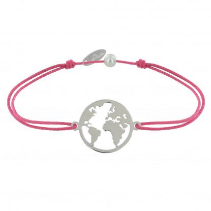 Bracelet Lien Médaille Argent Ronde Map Monde