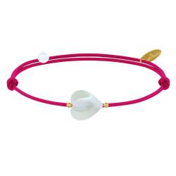 Bracelet Lien Petit Coeur de Nacre et Perle Plaqué Or - Colors