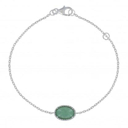 Bracelet Argent Rhodié Ovale d'Aventurine