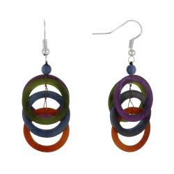 Boucles d'Oreilles Sol en Tagua Multicolore Automne