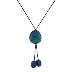 Collier Cravate Trio de Perles Tagua Bicolore