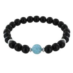 Bracelet Homme Perles d'Ebènes et Perle de Larimar