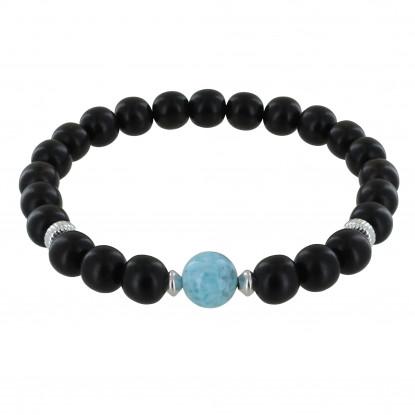 Bracelet Homme Elastique Perles d'Ebènes et Perle de Larimar