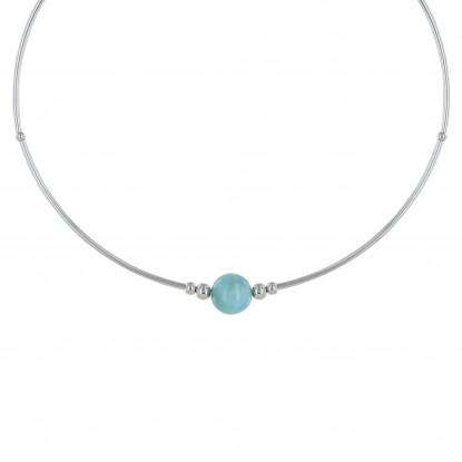 Collier Tubes Argent Une Perle de Larimar et Perles d'Argent