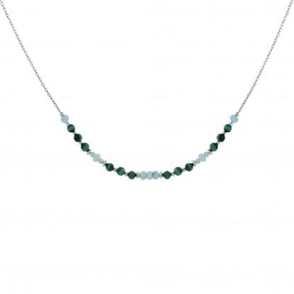 Collier Chaine Argent Petites Perles de Malachite et Larimar Facettées