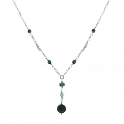 Collier Chaine Argent Rhodié Six Perles de Malachite et Cinq Petites Perles de Larimar Facettées