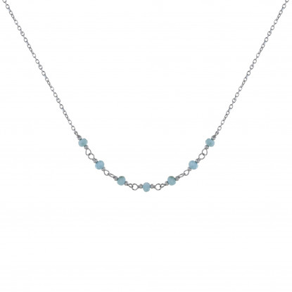 Collier Chaine Argent Rhodié Sept Petites Perles de Larimar Facettées