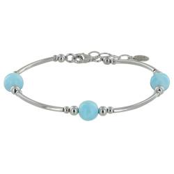 Bracelet Tubes Argent Trois Perles de Larimar