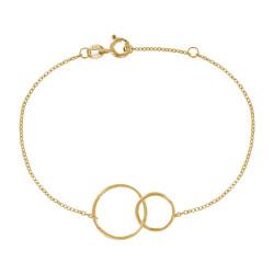 Bracelet Plaqué Or Deux Cercles - Petit Modèle