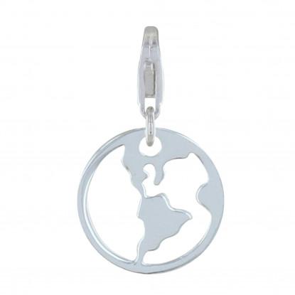 Charms Argent Médaille Mappemonde