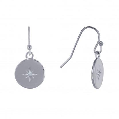 Boucles d'Oreilles Argent Rhodié Médaille Ronde Etoile Polaire et Strass