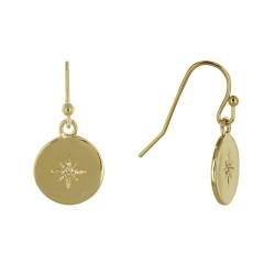 Boucles d'Oreilles Plaqué Or Médaille Ronde Etoile Polaire et Strass