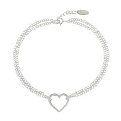 Bracelet Argent Coeur Ajouré Double Chaines