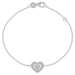 Bracelet Argent Double Coeurs et Strass