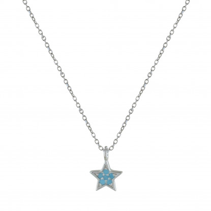 Collier Argent Petite Etoile Strass Turquoise