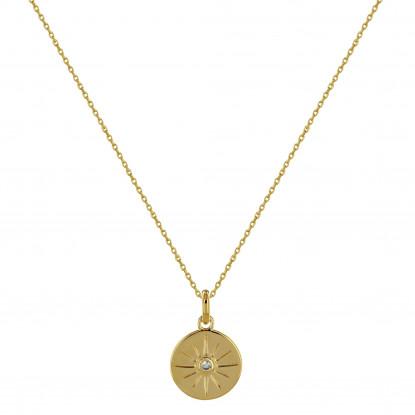 Collier Plaqué Or Médaille Ronde Soleil et Strass