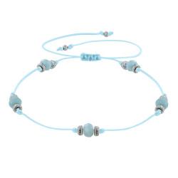 Bracelet Lien Cinq Perles Facettées de Larimar