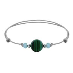 Bracelet Lien Perles Facettées de Larimar et Bouton de Malachite