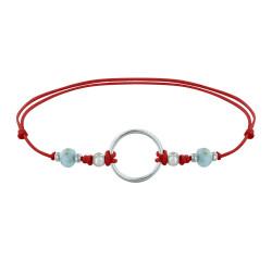 Bracelet Lien Cercle Argent et Deux Perles Facettées de Larimar