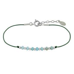 Bracelet Lien Sept Perles Facettées de Larimar et Perles Argent