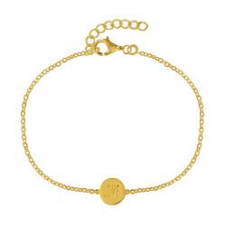 Bracelet Plaqué Or Médaille Ronde Love