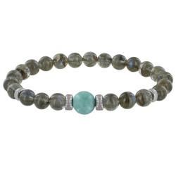 Bracelet Homme Perles Labradorite et Perle de Larimar