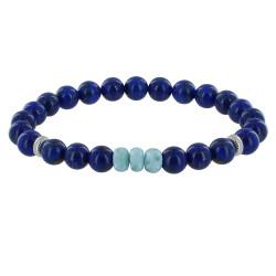 Bracelet Homme Perles Lapis Lazuli et Trois Anneaux de Larimar