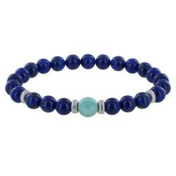 Bracelet Homme Perles Lapis Lazuli et Perle de Larimar